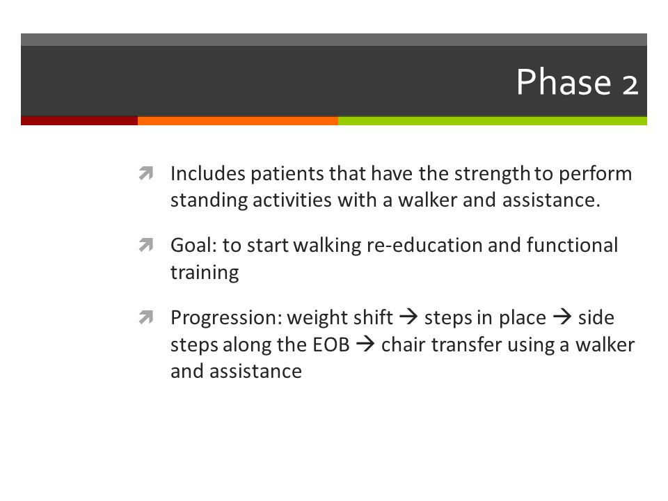 Phase 2 Includes patients that have the strength to perform standing activities with a walker and assistance.