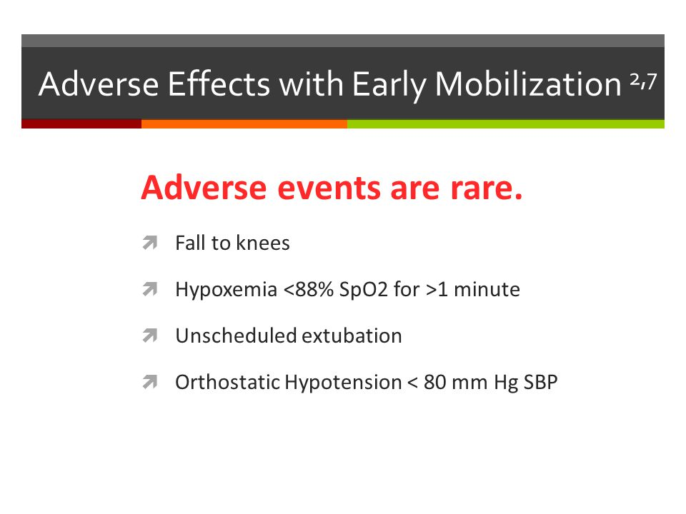 Adverse Effects with Early Mobilization 2,7