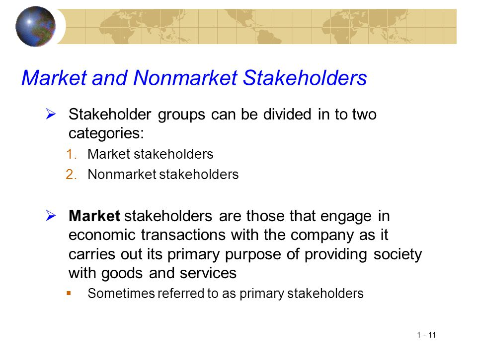 Market and Nonmarket Stakeholders