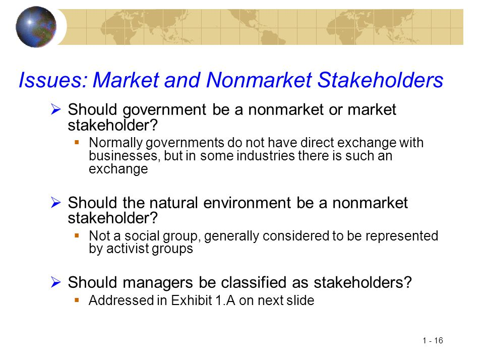 Issues: Market and Nonmarket Stakeholders