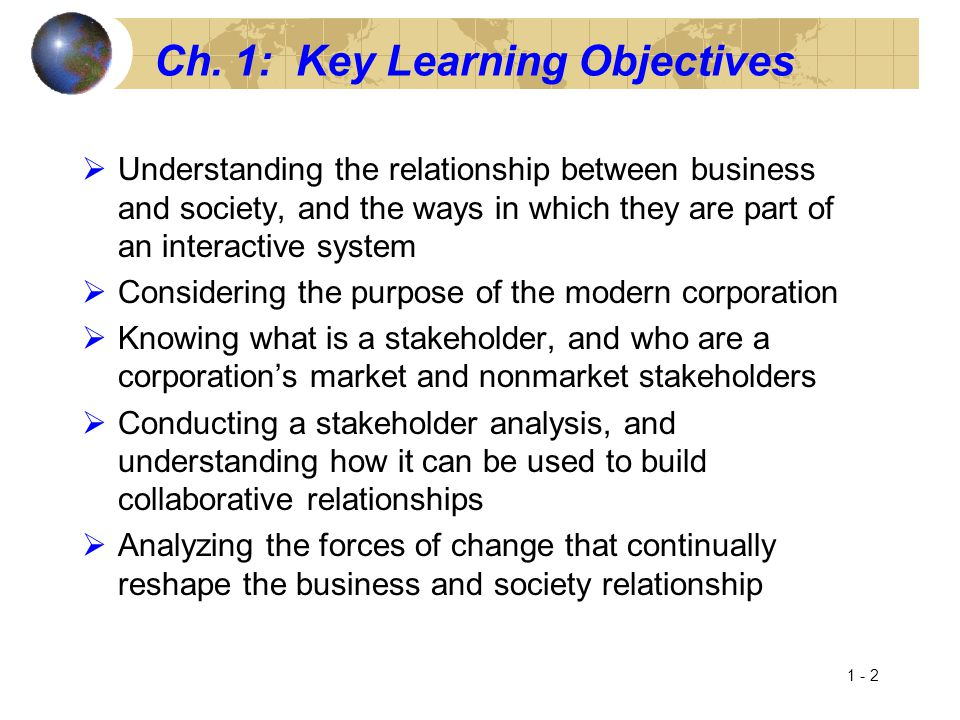 Ch. 1: Key Learning Objectives