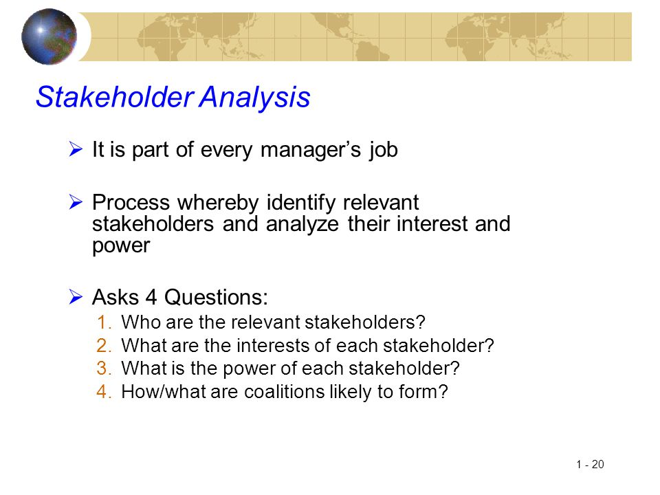 Stakeholder Analysis It is part of every manager's job