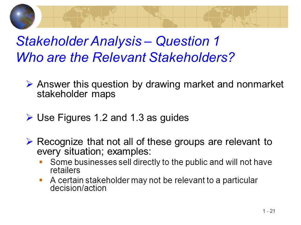 Stakeholder Analysis – Question 1 Who are the Relevant Stakeholders
