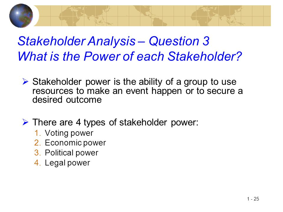 Stakeholder Analysis – Question 3 What is the Power of each Stakeholder