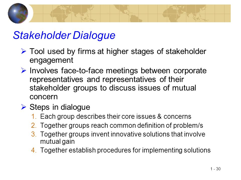 Stakeholder Dialogue Tool used by firms at higher stages of stakeholder engagement.