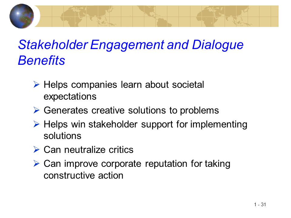 Stakeholder Engagement and Dialogue Benefits
