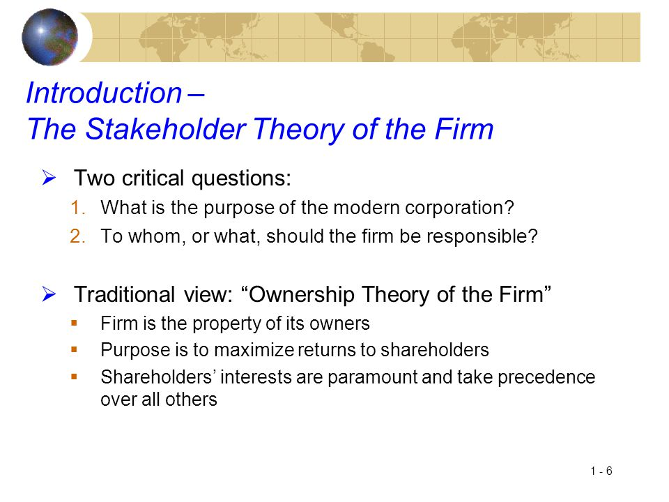 Introduction – The Stakeholder Theory of the Firm
