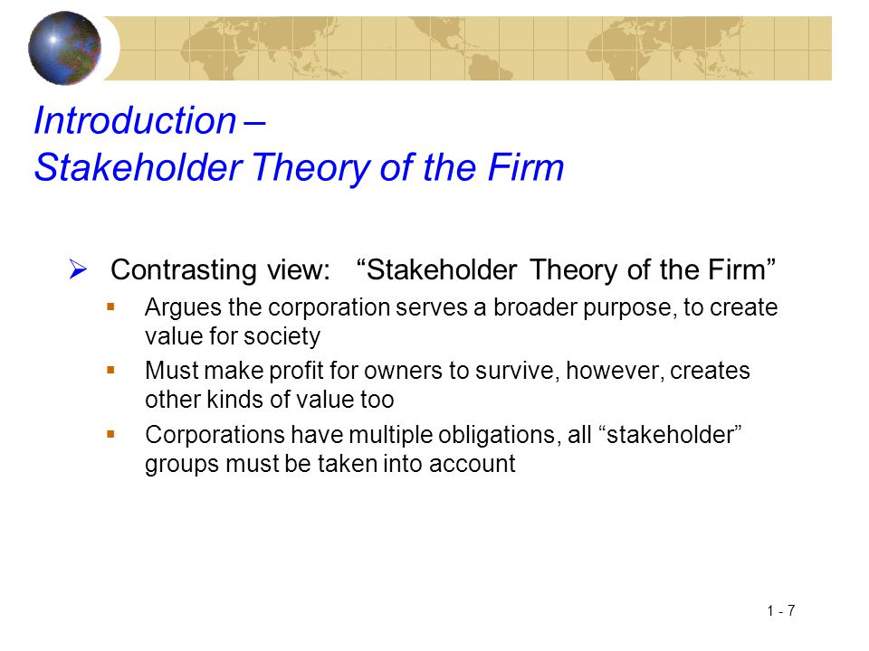 Introduction – Stakeholder Theory of the Firm