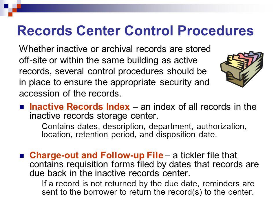 Records Center Control Procedures