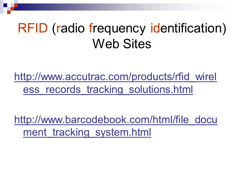 RFID (radio frequency identification) Web Sites