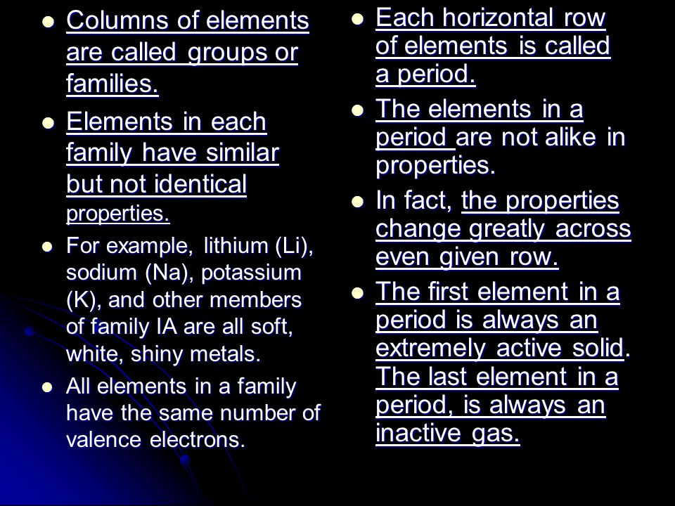 Columns of elements are called groups or families.