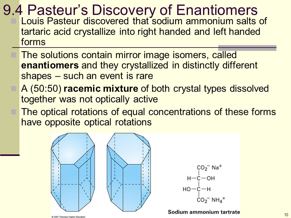 9.4 Pasteur's Discovery of Enantiomers