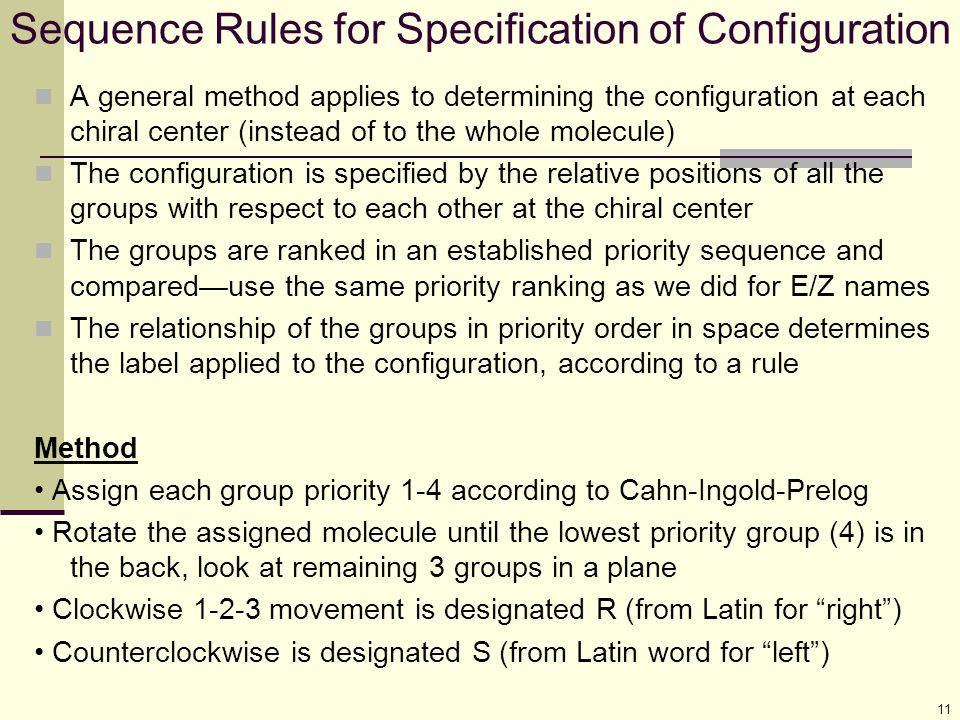 Sequence Rules for Specification of Configuration