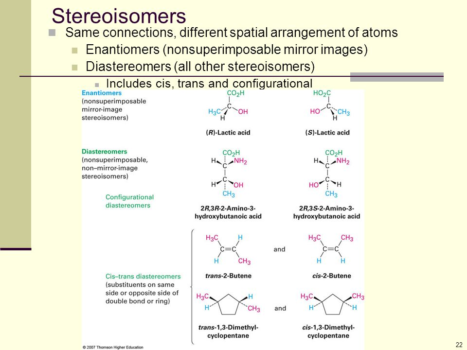 Stereoisomers Same connections, different spatial arrangement of atoms