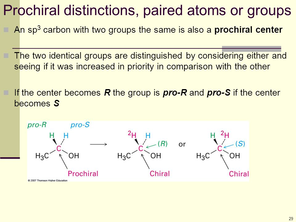 Prochiral distinctions, paired atoms or groups