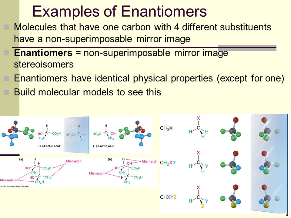 Examples of Enantiomers