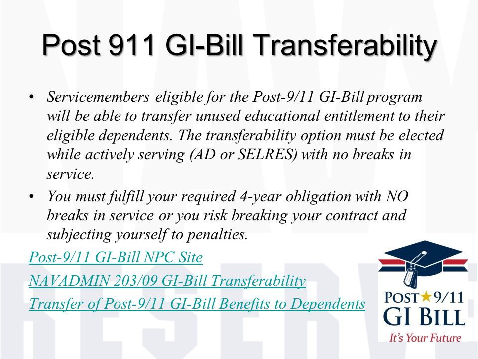 Post 911 GI-Bill Transferability