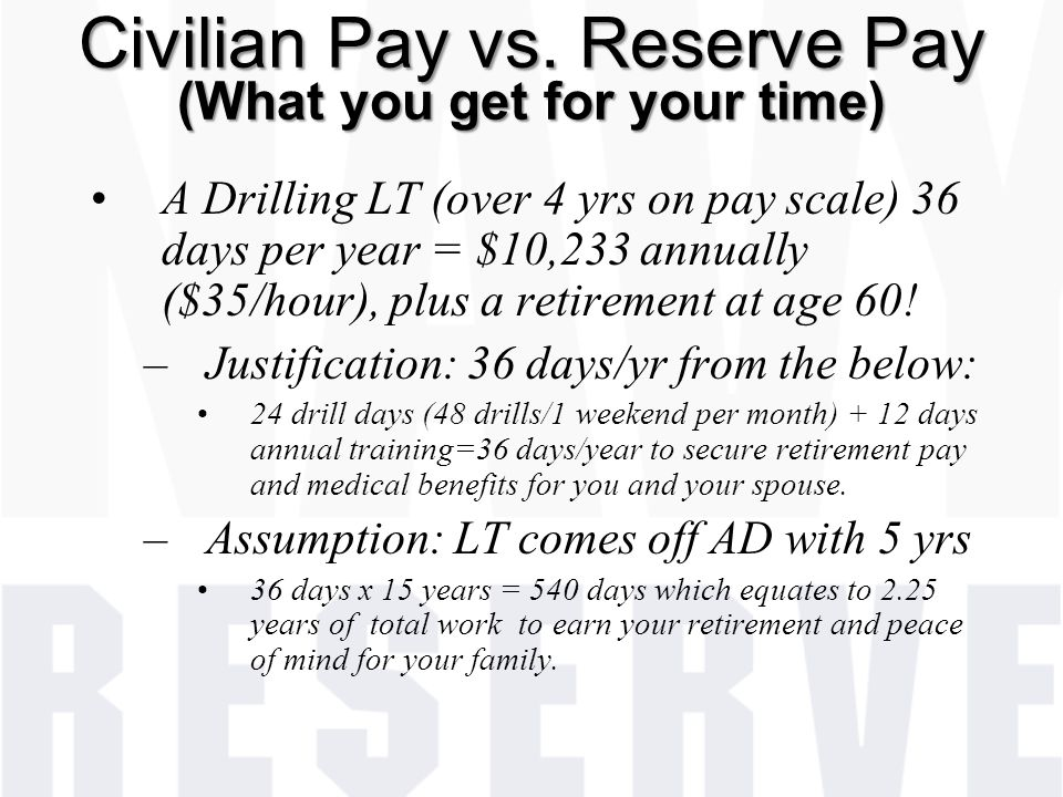 Civilian Pay vs. Reserve Pay (What you get for your time)