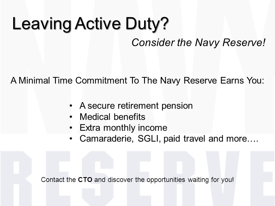 Leaving Active Duty Consider the Navy Reserve!