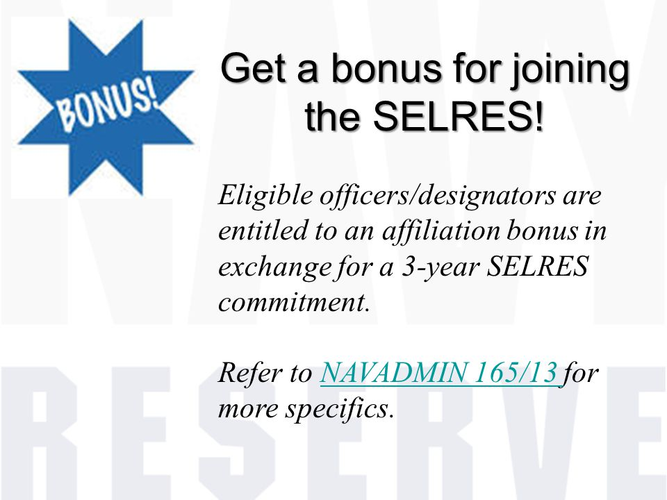 Get a bonus for joining the SELRES!