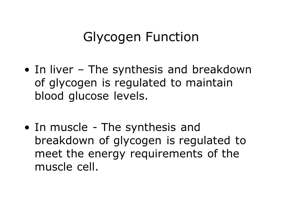 Glycogen Function In liver – The synthesis and breakdown of glycogen is regulated to maintain blood glucose levels.
