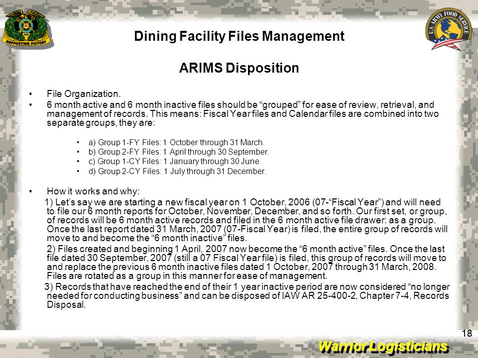 Dining Facility Files Management ARIMS Disposition