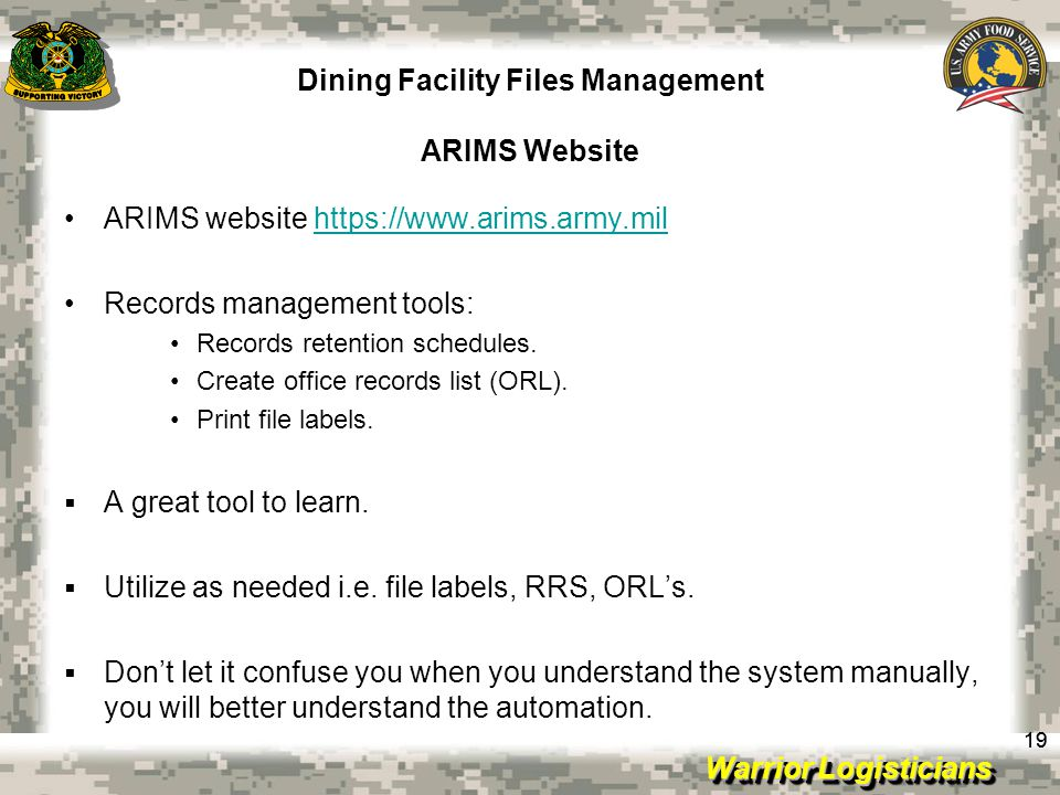 Dining Facility Files Management ARIMS Website
