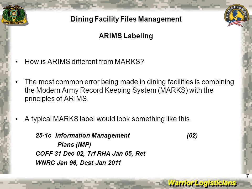 Dining Facility Files Management ARIMS Labeling