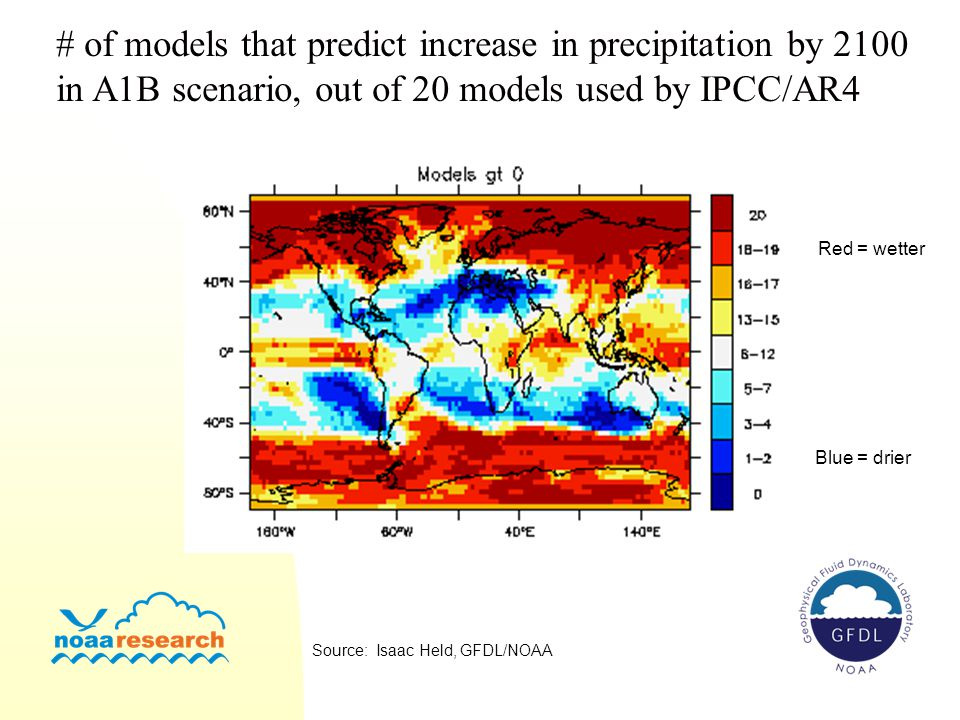 # of models that predict increase in precipitation by 2100
