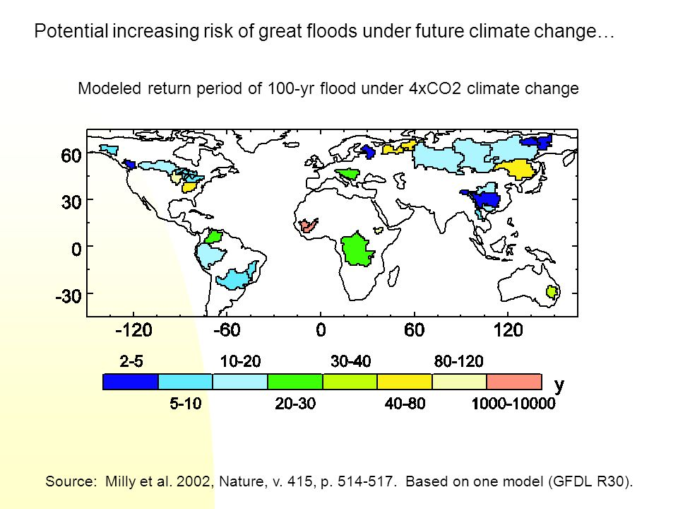 Potential increasing risk of great floods under future climate change…