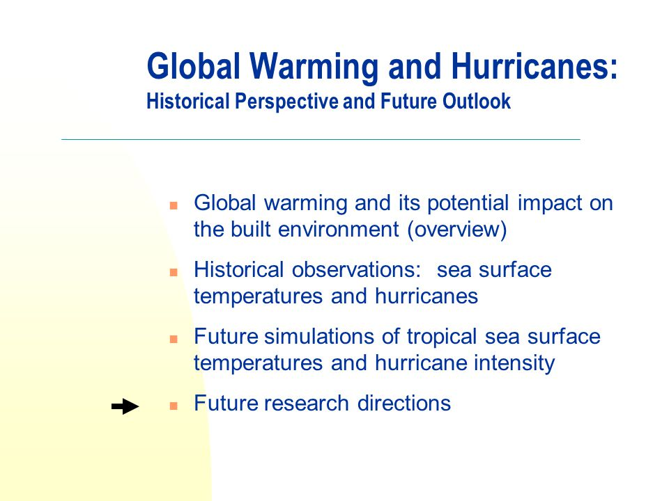 Global Warming and Hurricanes: Historical Perspective and Future Outlook