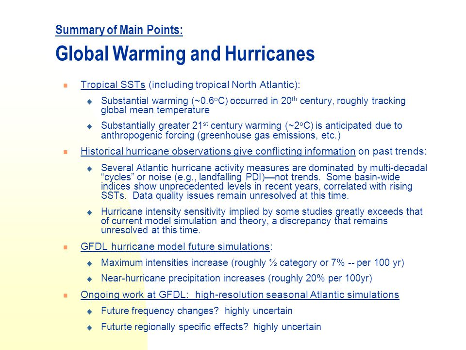 Summary of Main Points: Global Warming and Hurricanes