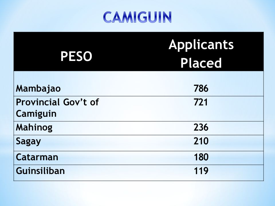 CAMIGUIN Applicants Placed PESO Mambajao 786