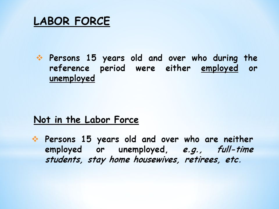 LABOR FORCE Not in the Labor Force
