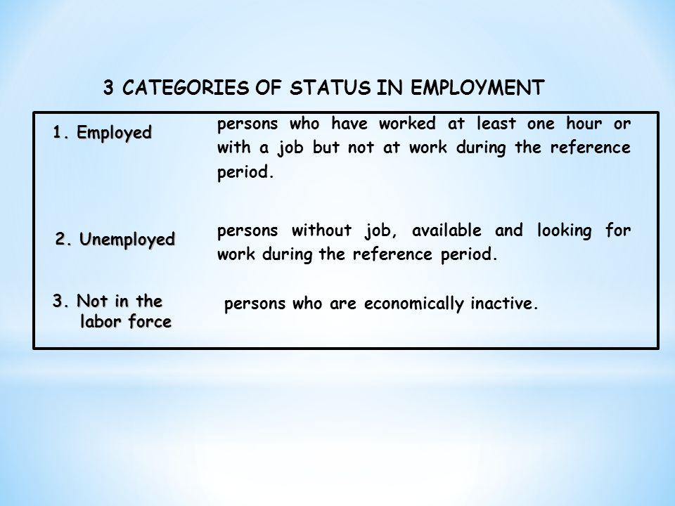 3 CATEGORIES OF STATUS IN EMPLOYMENT