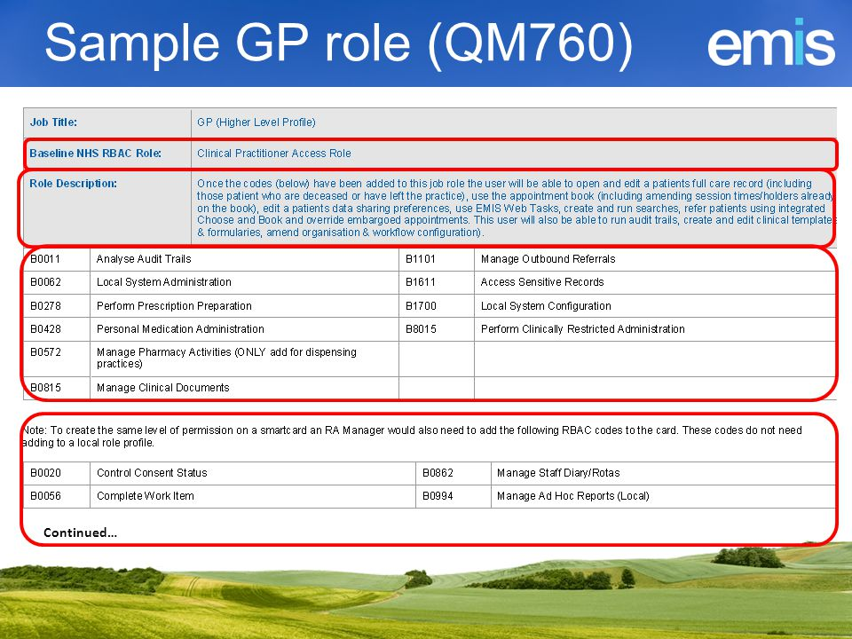 Sample GP role (QM760) Continued…