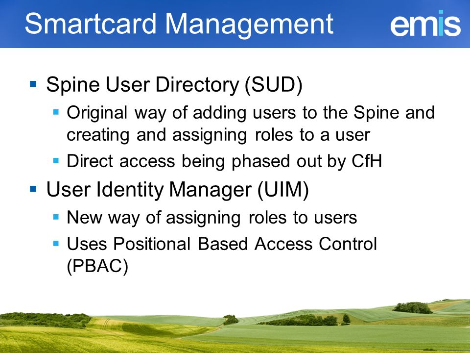 Smartcard Management Spine User Directory (SUD)