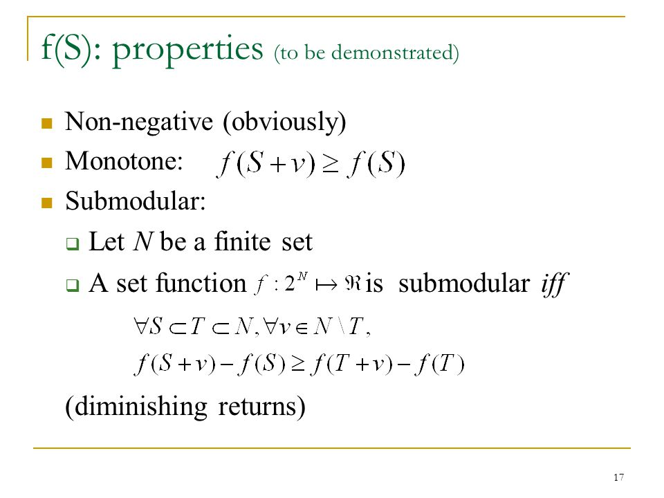 f(S): properties (to be demonstrated)