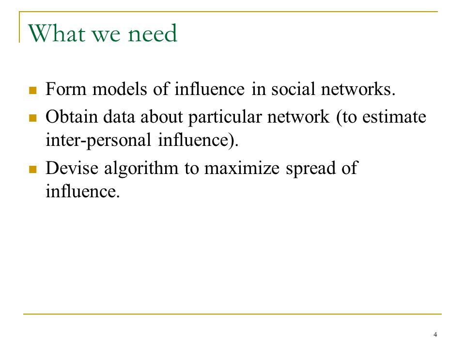 What we need Form models of influence in social networks.