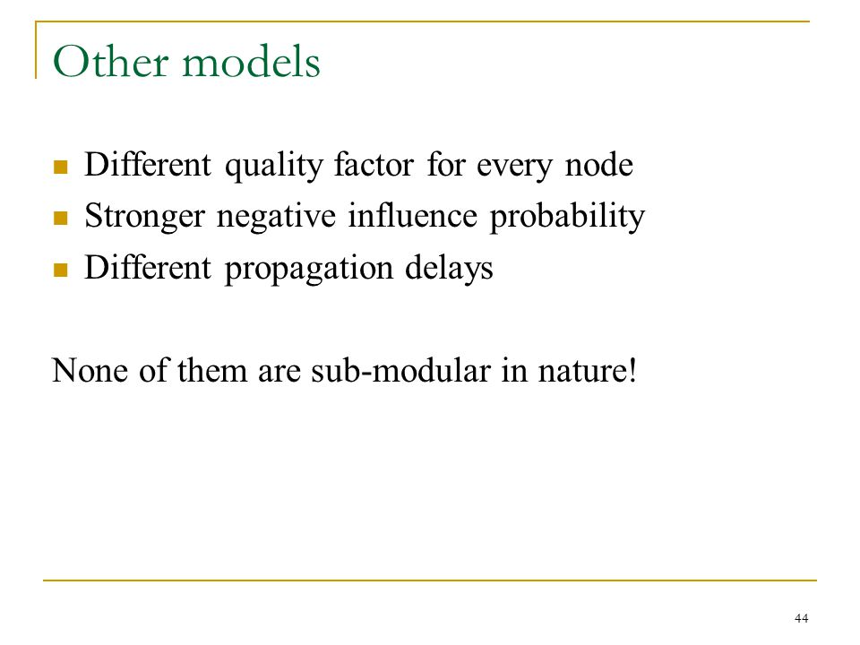 Other models Different quality factor for every node