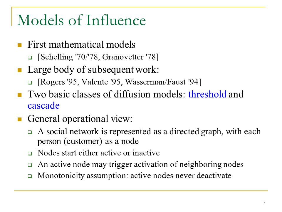 Models of Influence First mathematical models