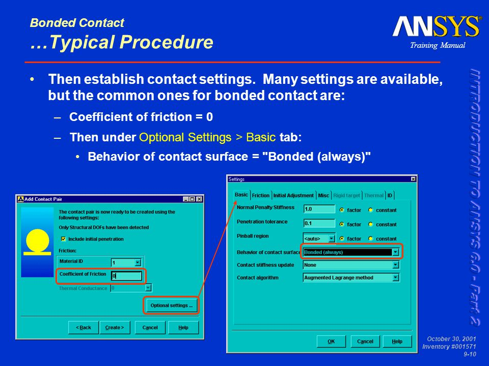 Bonded Contact …Typical Procedure