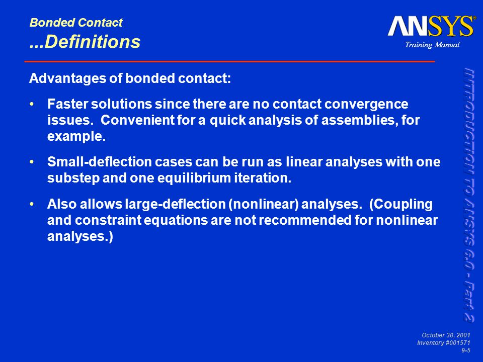 Bonded Contact ...Definitions