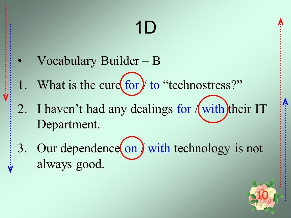 1D Vocabulary Builder – B What is the cure for / to technostress