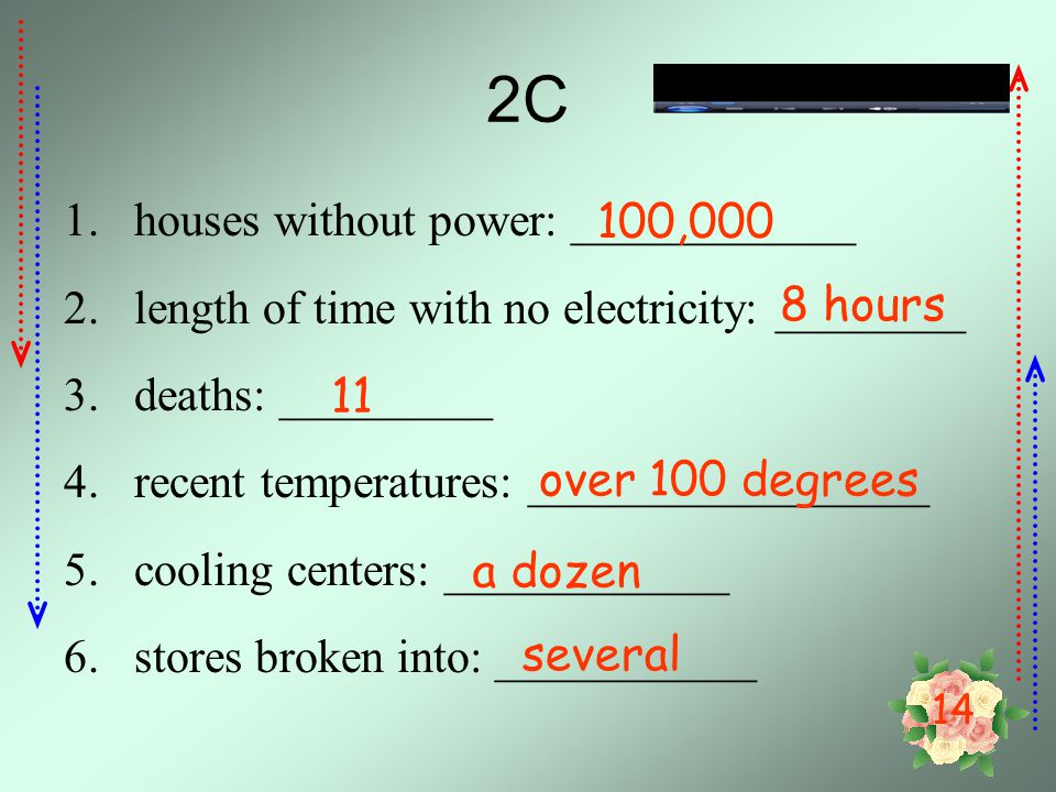 2C houses without power: ____________ 100,000