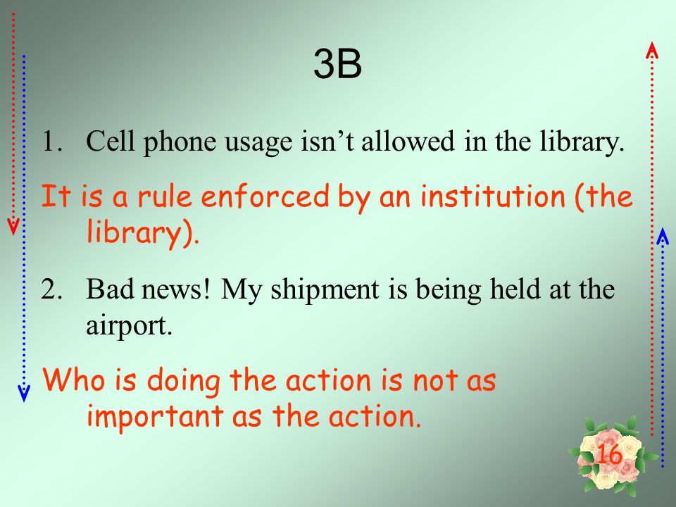 3B Cell phone usage isn't allowed in the library.