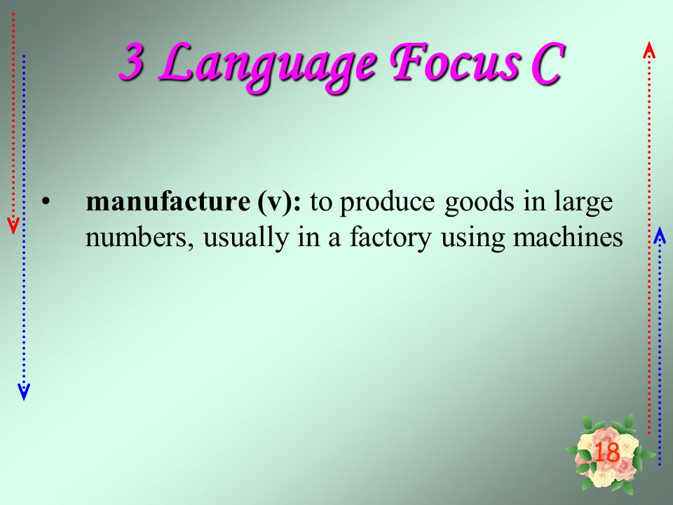 3 Language Focus C manufacture (v): to produce goods in large numbers, usually in a factory using machines.