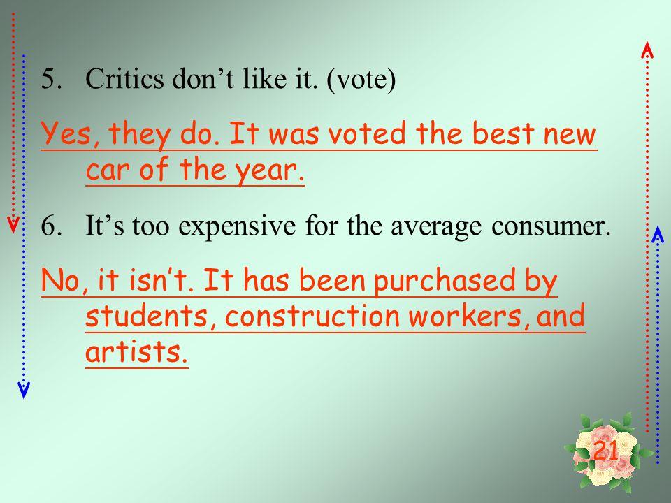 Critics don't like it. (vote)
