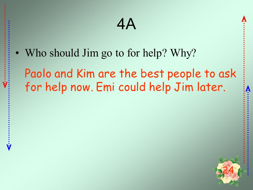 4A Who should Jim go to for help Why