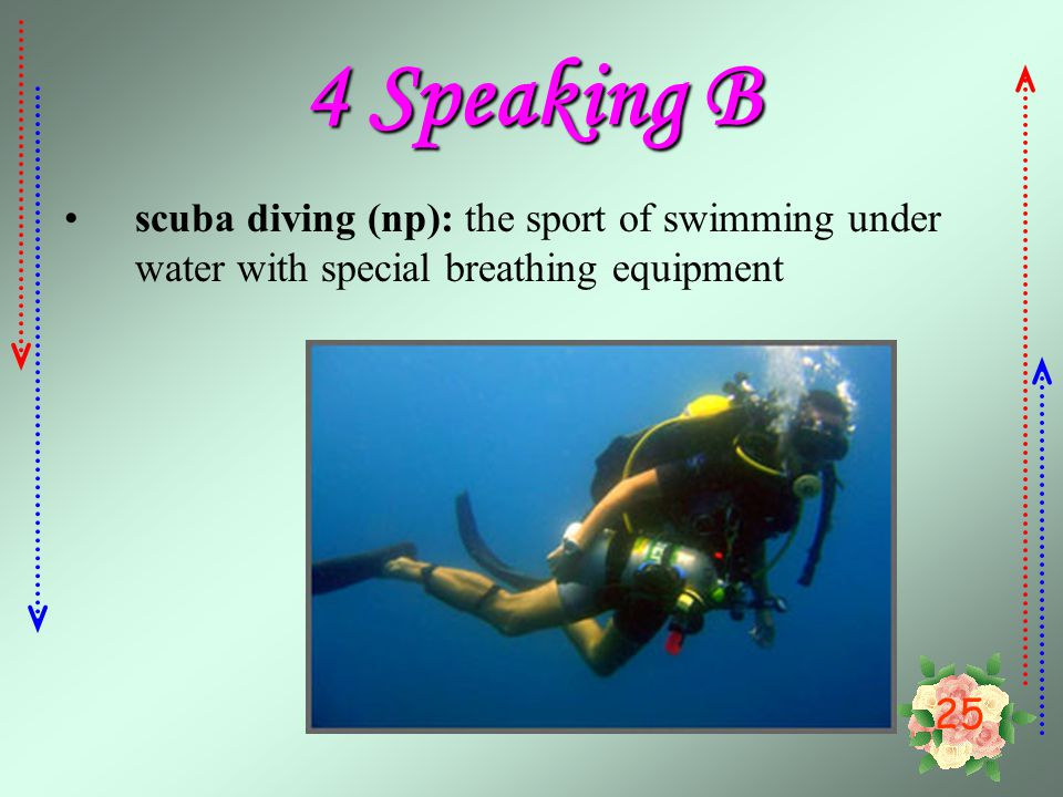 4 Speaking B scuba diving (np): the sport of swimming under water with special breathing equipment